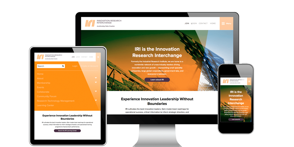 IRIweb.org is a key component in achieving the Innovation Research Interchange's mission of growing technological innovation by fostering networking and an active exchange of information among Fortune 500 companies and thought leaders. The website integrates with the iMIS member management system, offering a single-sign on solution to create a seamless experience for all users.
